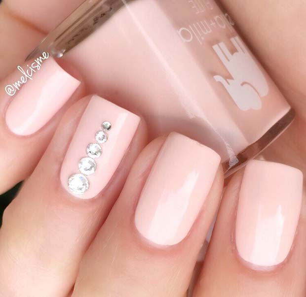 Simple Pink Nails with Rhinestones - 21 Elegant Nail Designs With Rhinestones StayGlam