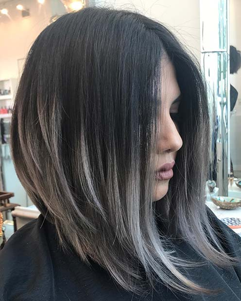 Silvery Gray Highlights for Dark Brown Hair