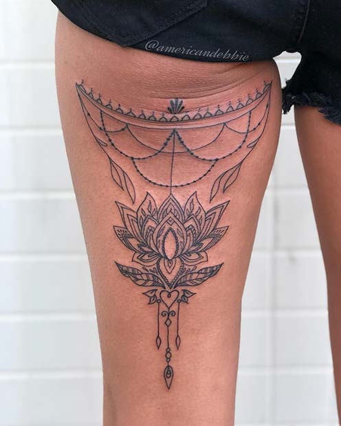 Lotus Back of Thigh Tattoo