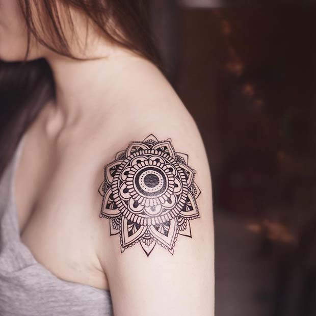 Mandala Shoulder Tattoo for Women