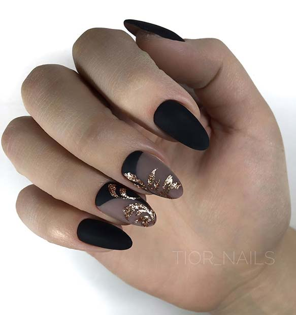 Elegant Matte Black and Gold Nails