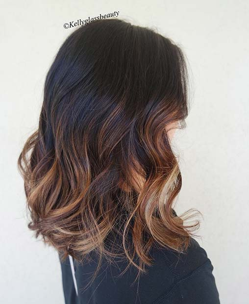 Multi Tone Highlights for Dark Brown Lob Haircut