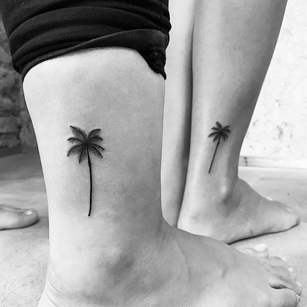 Palm Trees Tattoo Idea for Siblings