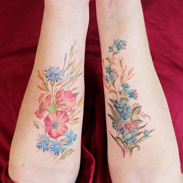 Pretty Flower Tattoos for Siblings