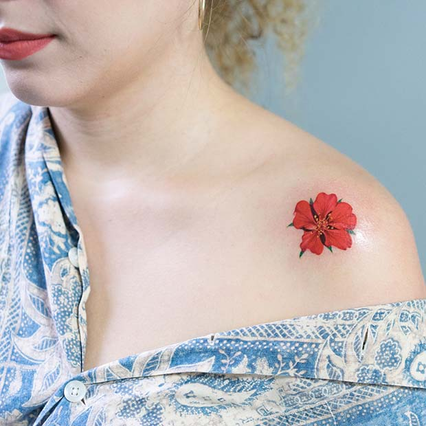 Pretty Red Flower Shoulder Tattoo