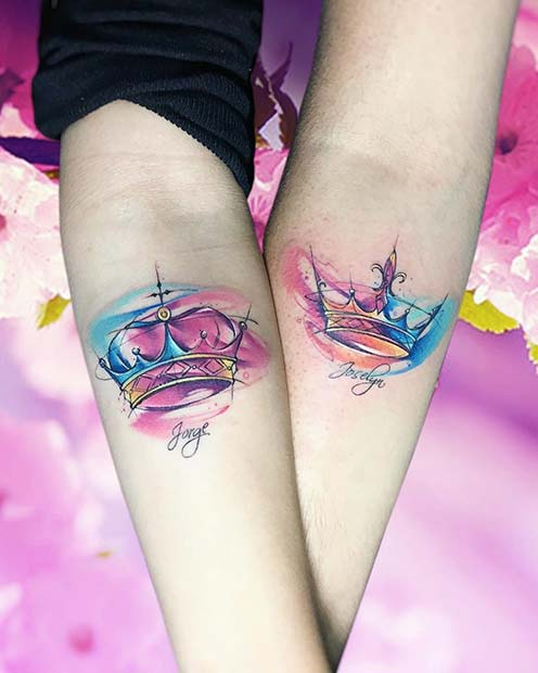 Watercolor, King and Queen Sibling Tattoos