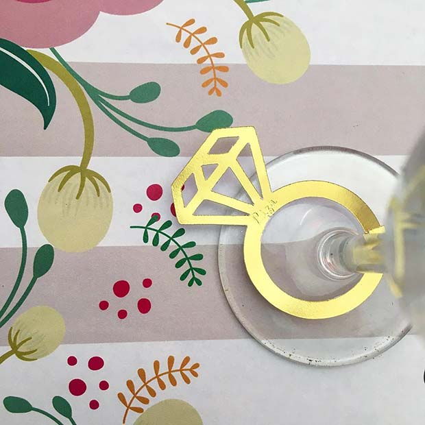 Ring Glass Decorations for a Bachelorette Party