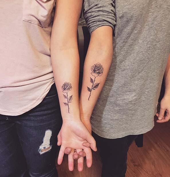 Matching Rose Tattoos for Siblings