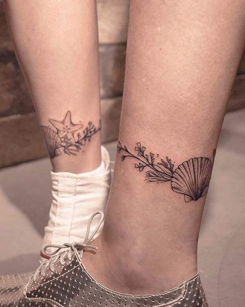 Matching Seashell Ankle Tattoos