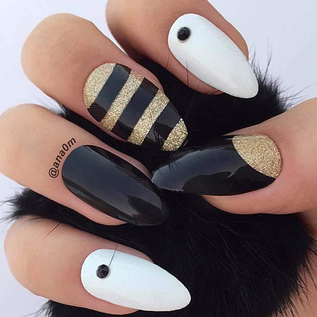 Beautiful Nail Design with Stripes and Dots