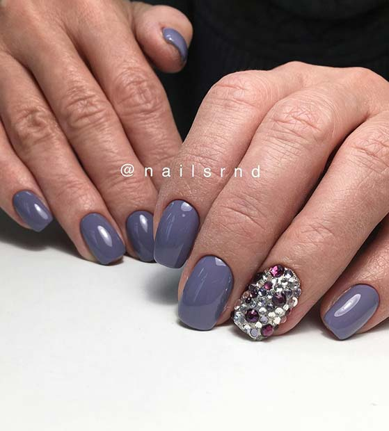Grey Nail Design With Rhinestone Accent