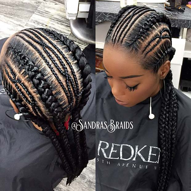Trendy Thin and Thick Cornrows