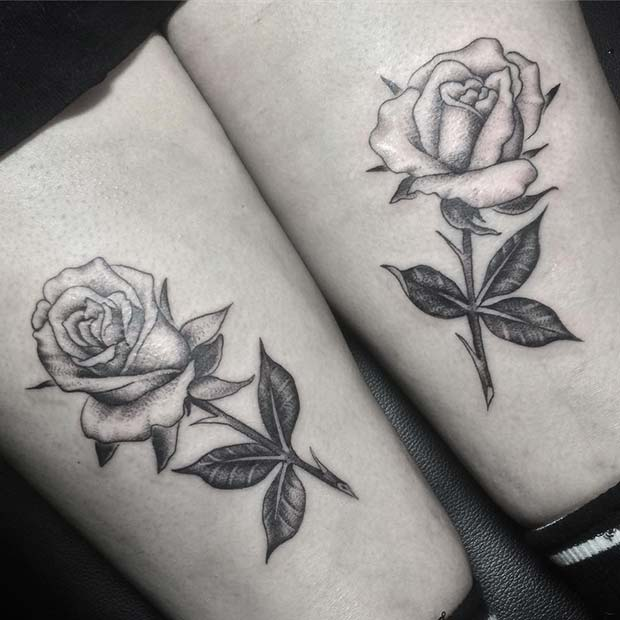 Two Roses Thigh Tattoos