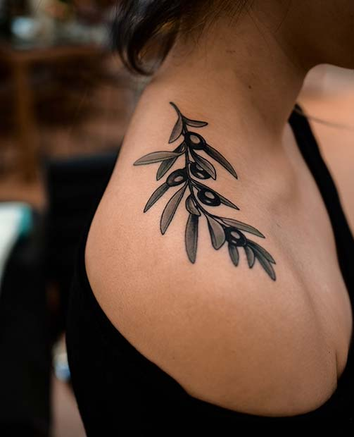 Unique Olive Branch Tattoo Idea