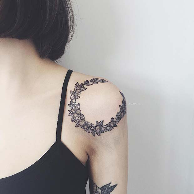 Unique Shoulder Tattoo Idea for Women