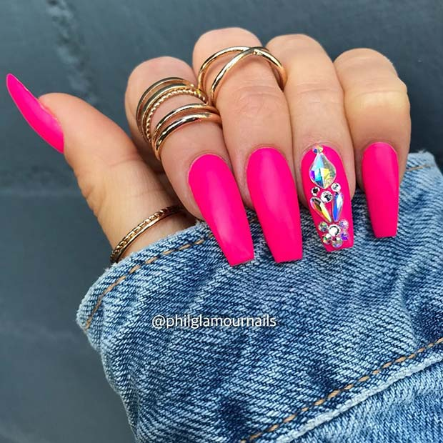 Pink Coffin Nails with Rhinestones