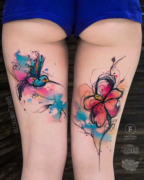 Watercolor Back of Thigh Tattoo