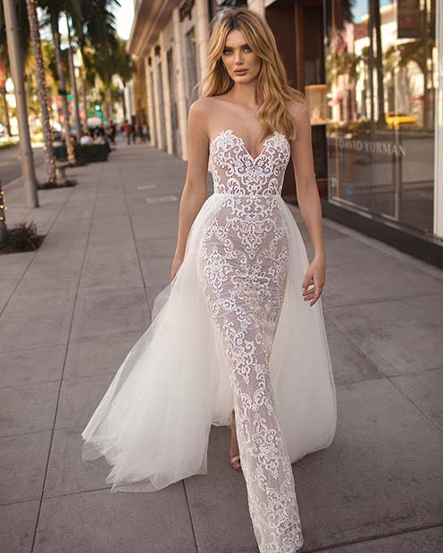 Sexy Lace Wedding Dress with Overskirt