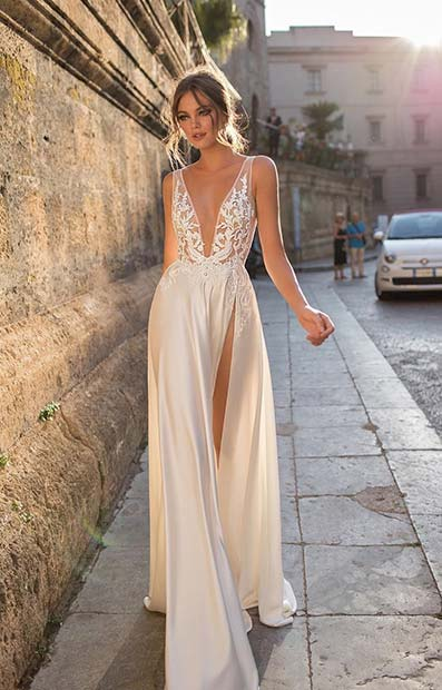 Sexy Wedding Dress with Plunging Neckline and Side Split