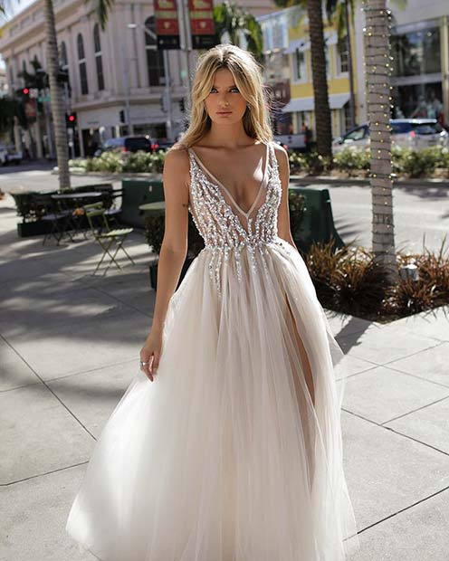 Pretty Wedding Dress with Plunging Neckline