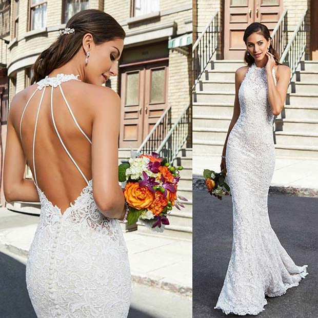 Lace Wedding Dress with Stylish Strap Back