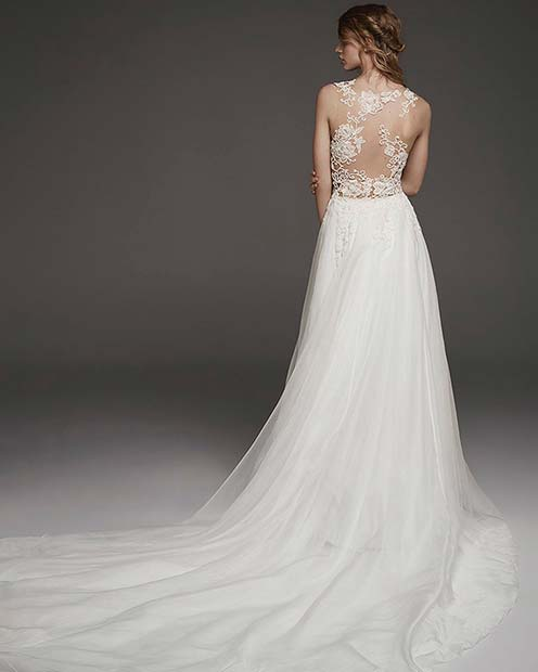 Pretty Wedding Gown with Lace Back