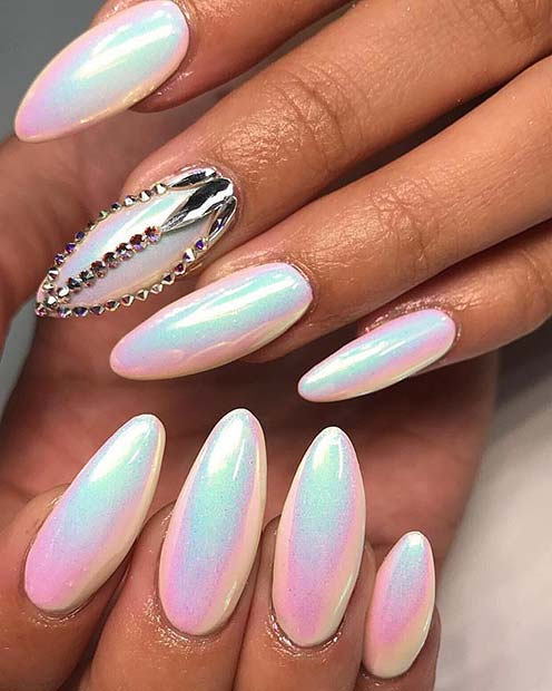 Aurora Chrome Nails with Crystals