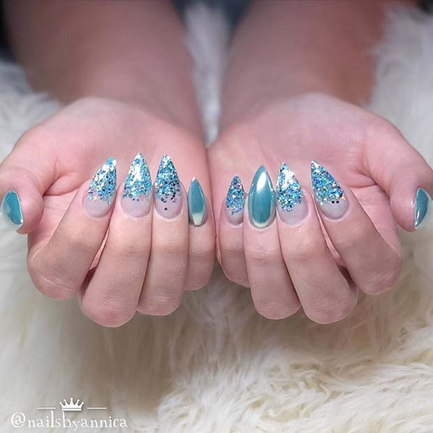 Sparkly Chrome Stiletto Nails