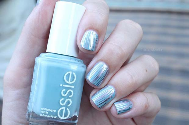 Blue and Silver Chrome Nail Design