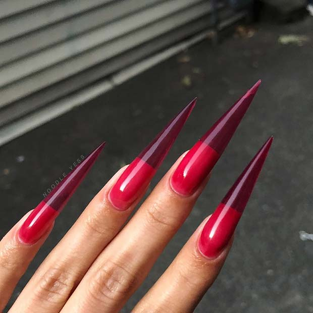 Bold, Long Red Stiletto Nails