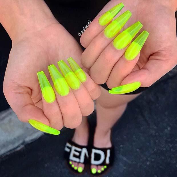 Bold Neon Jelly Nail Idea
