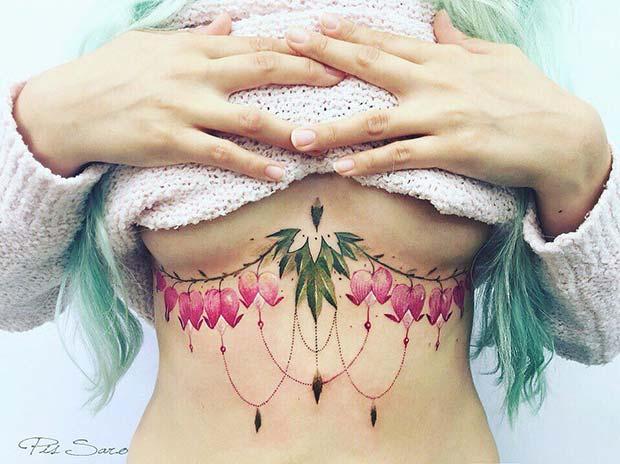 Bold, Floral Sternum Tattoo Idea