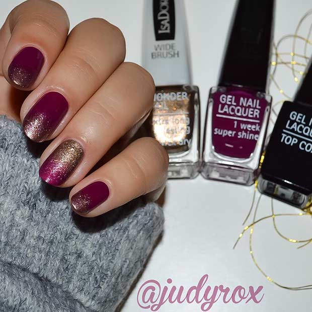 Burgundy and Gold Nails for Holidays