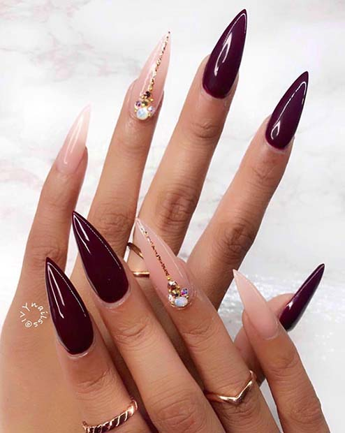 Burgundy and Nude Stiletto Nails