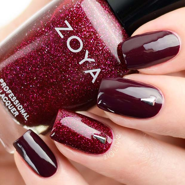 Burgundy and Red Glitter Nails