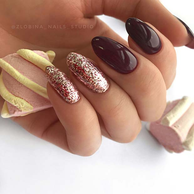Burgundy and Rose Gold Nails