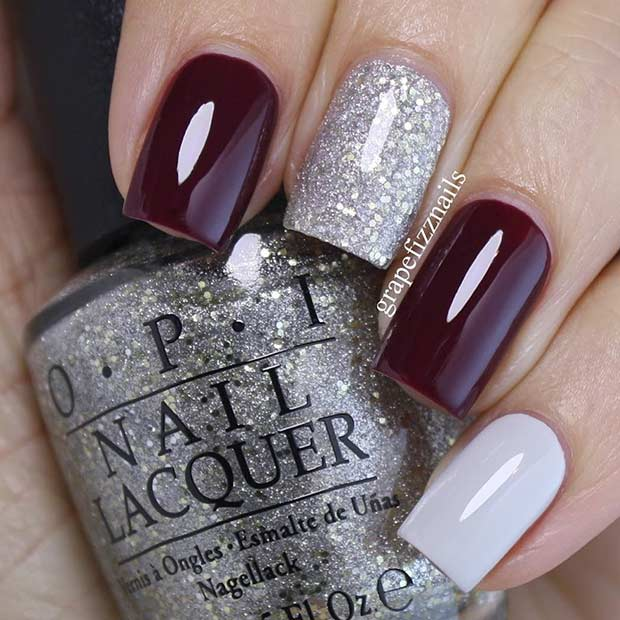Burgundy and Silver Glitter Nails