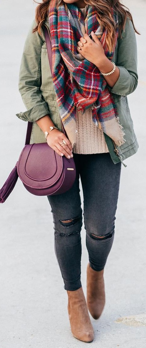 Casual Jeans, Military Jacket and Plaid Scarf