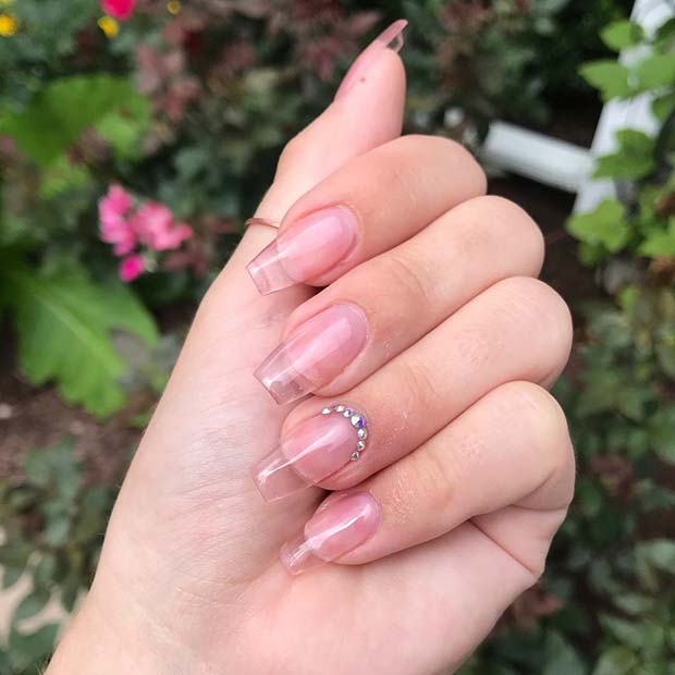 Clear Jelly Nails with Rhinestones