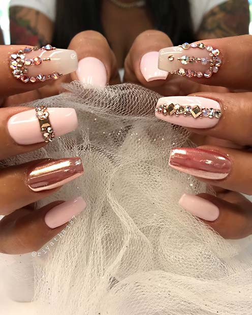 Chrome Coffin Nails with Rhinestones