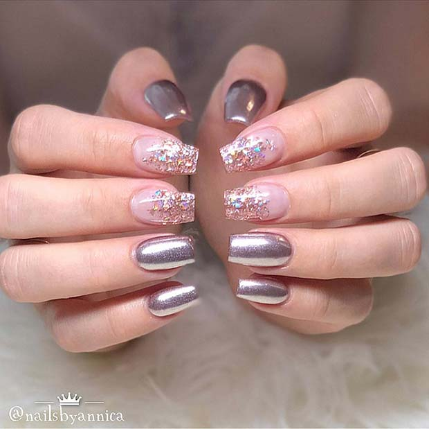 Sparkly Chrome Nails