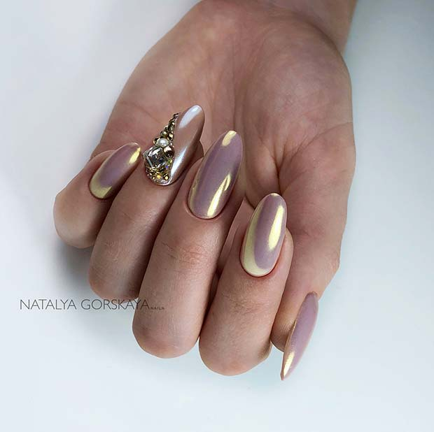 Elegant, Chrome Almond Nails with Rhinestones