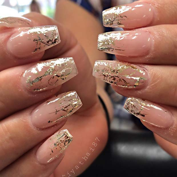 Classic Clear and Gold Chrome Nails