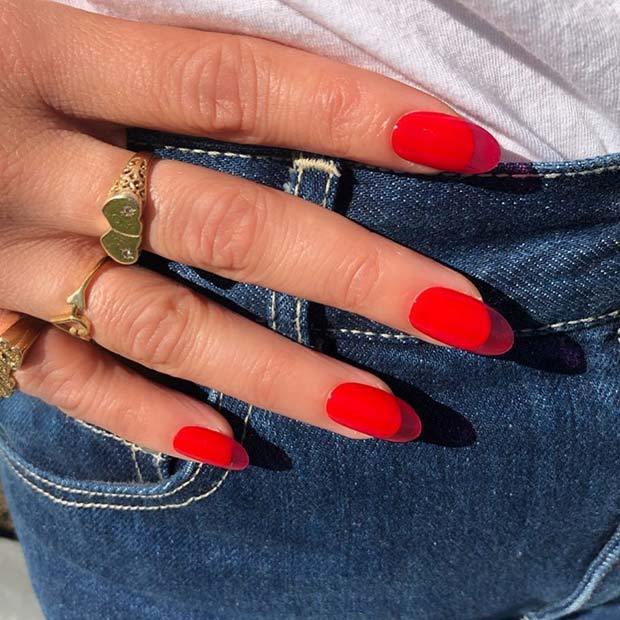 Classic Red Jelly Nails