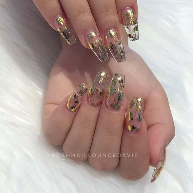 Clear Jelly Nails with Gold