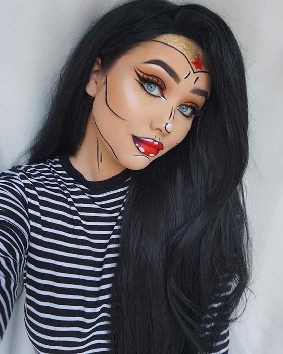 Comic Book Wonder Woman Makeup for Halloween