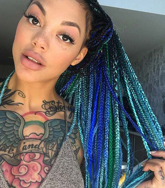Ombre Blue Box Braids for Summer