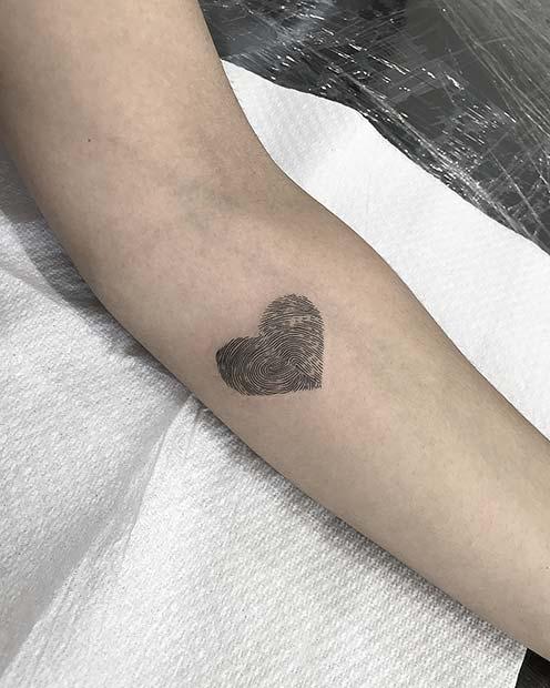 Cool Fingerprint Heart Tattoo