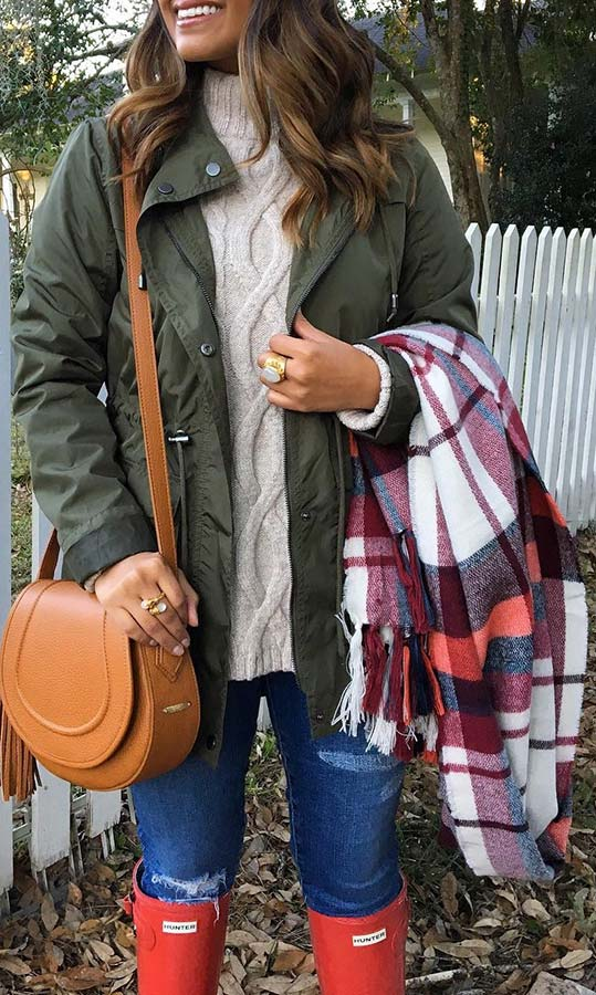 Cozy Coat, Rain Boots and Plaid Scarf Outfit