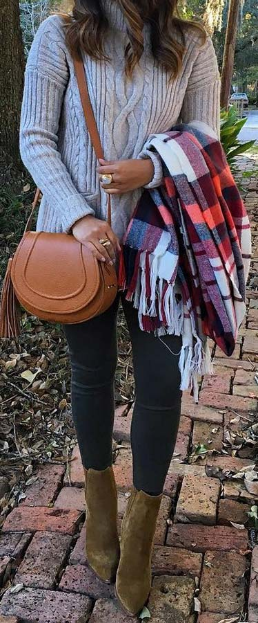 Cozy Sweater & Plaid Scarf Outfit
